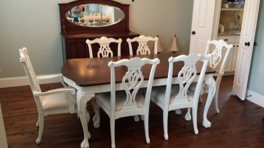 Dining set make over heath refinishing - Refinish contemporary dining room tables ...